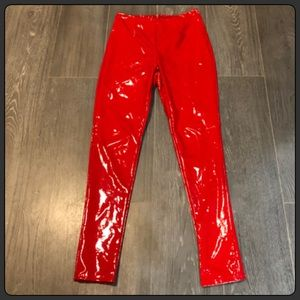 Fashion Nova Red Wet Look Patent Leather Pants